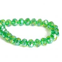 "72 Green AB Color Faceted Glass Beads 8mm( 3/8"") x 6mm( 2/8""), Hole: 1.5mm"